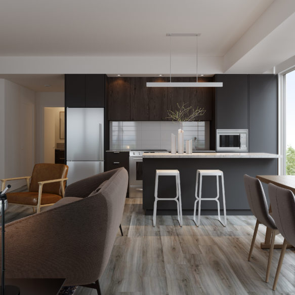 Cozy suite with large window, grey and brown living room furniture and grey and white seating and finishes in kitchen.