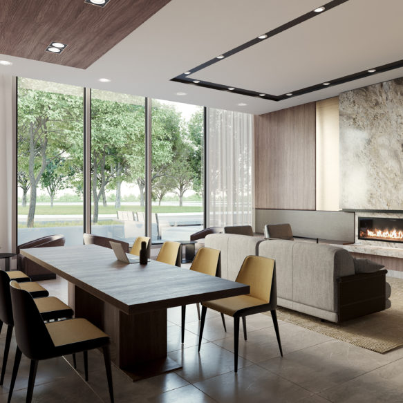 Bright coworking space with milled wood walls, a fireplace, floor-to-ceiling windows and a large worktable.