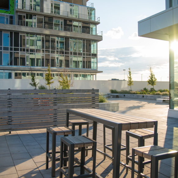 Elevated outdoor amenity featuring small trees and wooden bar table with seating.