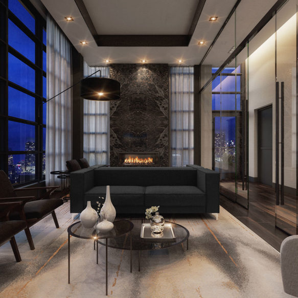 A sitting lounge at night featuring floor-to-ceiling windows, a black marble fireplace and plush modern seating.