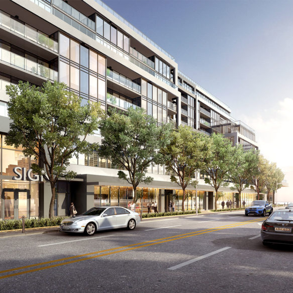 Morning street view of the Litho. Rental residence's retail podium with trees and a busy street scene in the foreground.