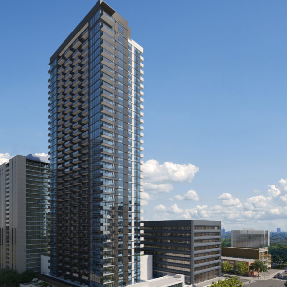 Morning view of Pivot rental residences tower with trees in the foreground.