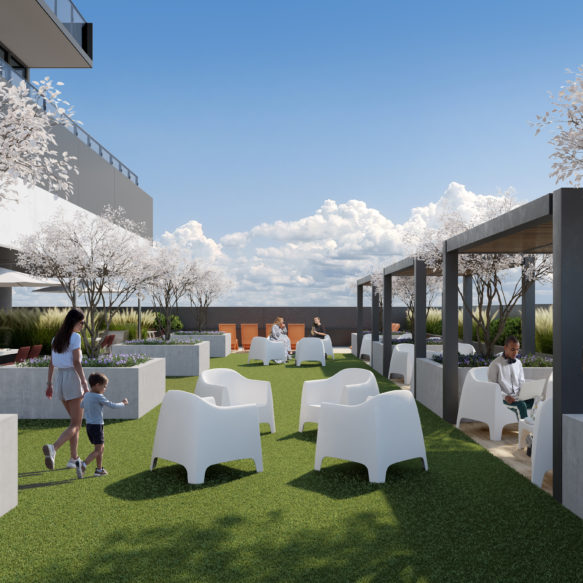 High-level outdoor amenity featuring white blossoming trees, modern white furniture and sunny blue skies.