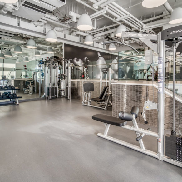 Modern fitness centre featuring weight machines, free weights and mirrored walls.