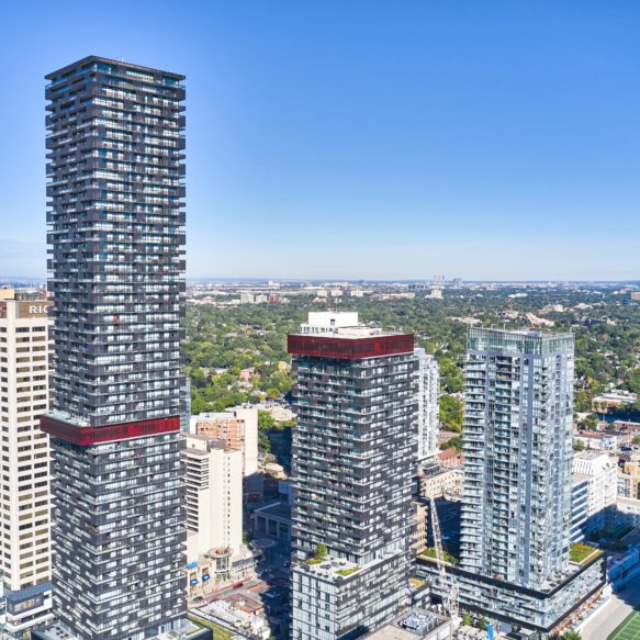 Aerial view of midtown Toronto featuring the eCentral rental residence in the centre.