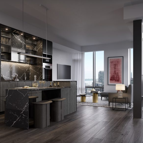 Kitchen featuring black marble, dark wood and floor-to-ceiling windows, and bright living room with modern furniture.
