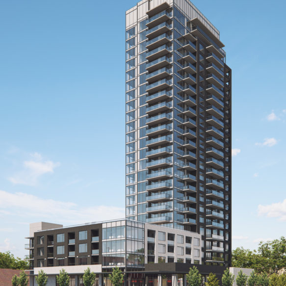 Afternoon view of Rhythm rental residences tower against blue sky.