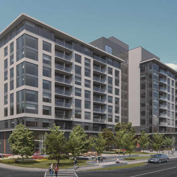 Exterior View of Luma rental apartments surrounded by trees