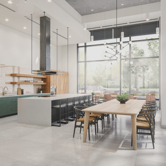 Party Room Amenity with communal wood table and kitchen